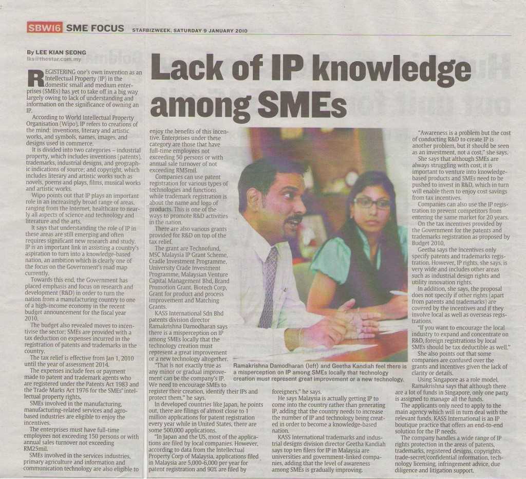 11.01.10_Kass_Starbizweek_Lack-of-IP-knowledge-among-SMEs