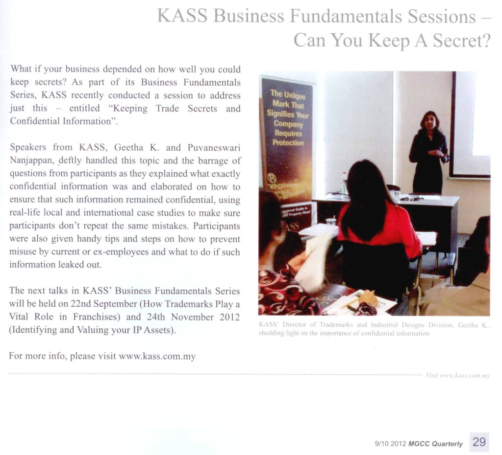 [MGCC Quarterly] KASS Business Fundamentals Sessions-Can You Keep A Secret