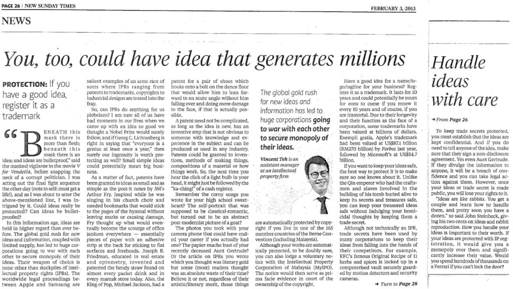 [New Sunday Times] You too could have an idea that generated millions