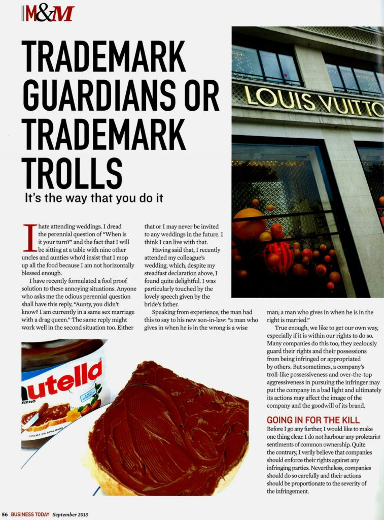 [Business Today] Trademark Guardians or Trademark Trolls-Pg 1