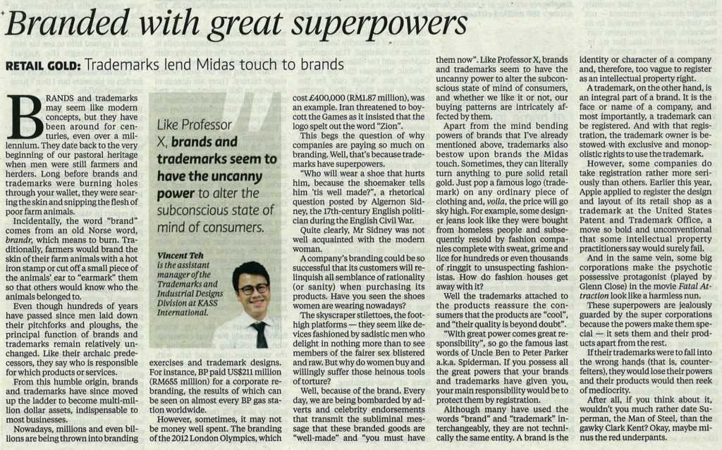 [New Sunday Times] Branded with great superpowers