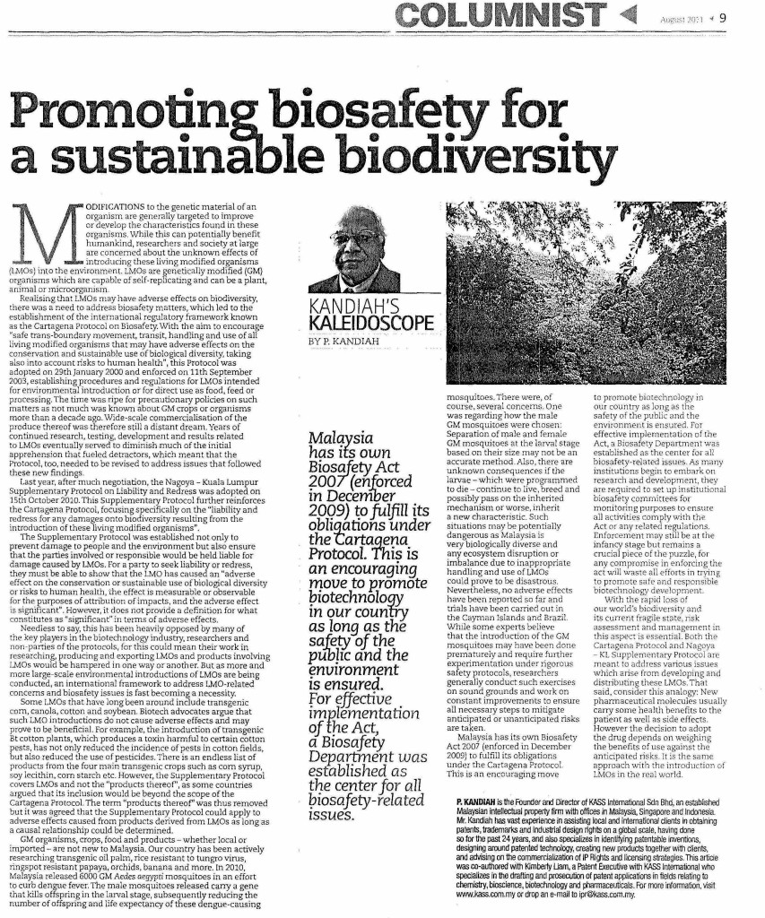 [Petri Dish] Promoting Biosafety for a sustainable Biodiversity