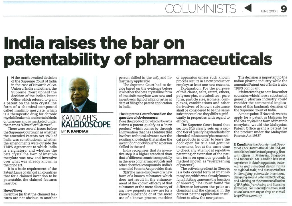 [The Petri Dish] India raises the bar on patentability of pharmaceuticals