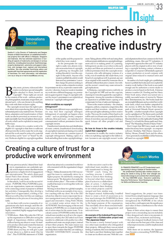 21 July'16 [MSME] Reaping Riches in the Creative Industry