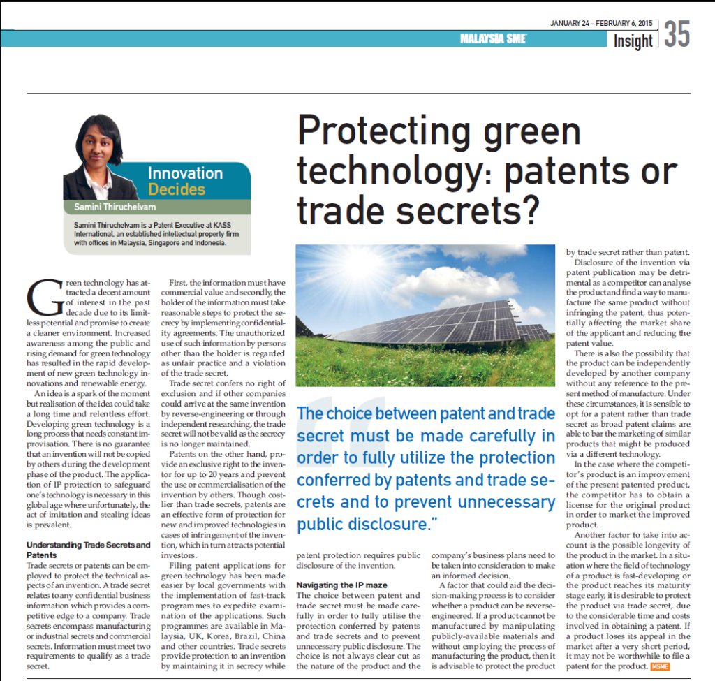 [MSME] Protecting Green Tech