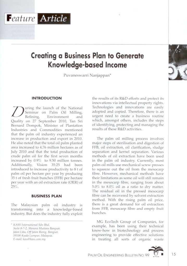 Palm-Oil-Engineering-Bulletin-No.-99-Creating-a-Business-Plan-to-Generate-Knowledge-based-Income-Pg-11